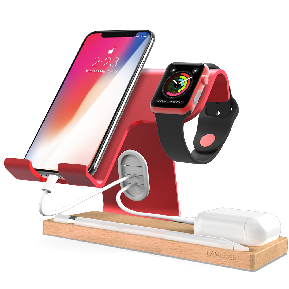 promo code 4c3b0 692ca Apple Watch Stand, LAMEEKU Cell Phone Stand Dock Cradle Compatible For  Apple Watch, all Smartphone, iPhone X 8 7 6 6s Plus - Red