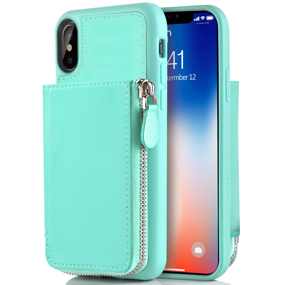 watch d3dfc 410bf iPhone XS Wallet Case, iPhone X Card Holder Case, LAMEEKU Protective  Leather Wallet Case with Hidden Card Slot for Apple iPhone XS / X 5.8