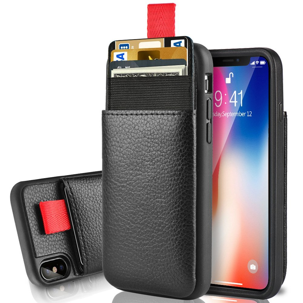 official photos 1a06c b986d iPhone Xs Wallet Case, iPhone X Card Holder Case, LAMEEKU Protective  Leather Case with Hidden Credit Card Slot for iPhone X/Xs 5.8