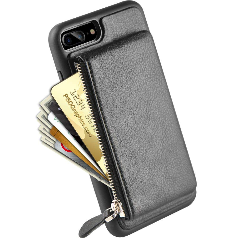 sale retailer b8c0b 934cb iPhone 8 Plus Zipper Wallet Case, iPhone 7 Plus Leather Case with  Kickstand, LAMEEKU Credit Card Holder Slot Cases for iPhone 7 Plus/8 Plus  5.5