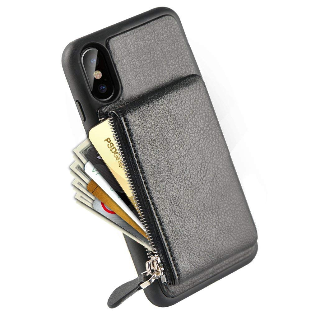 low priced fb556 13ec2 iPhone XS Wallet Case, iPhone X Zipper Wallet Case, LAMEEKU Shockproof  Apple X Leather Credit Card Holder Slot Case for iPhone XS / iPhone X 5.8