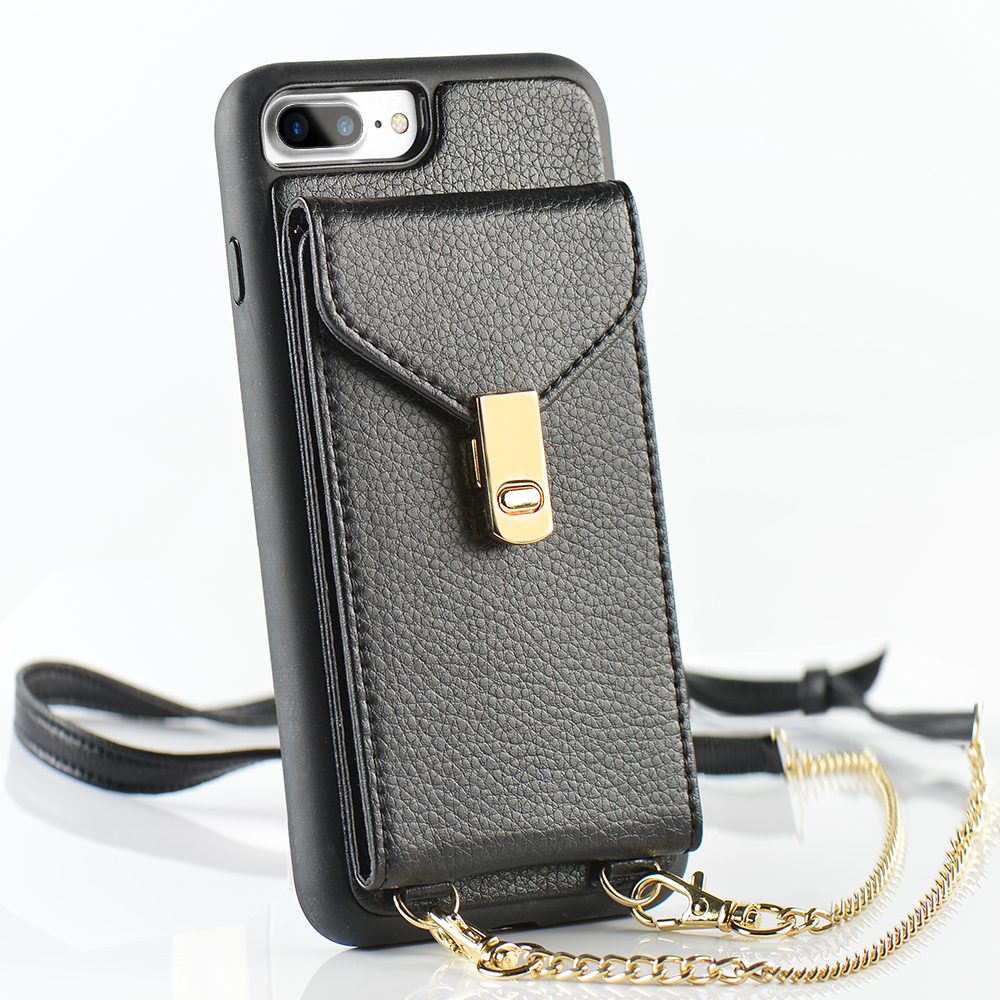 43a30005339 iPhone 7 Plus Wallet Case, LAMEEKU iPhone 8 Plus Leather Case with Credit  Card Slot Purse Bag Crossbody Chain Adjustable Wrist Strap Protective Cover