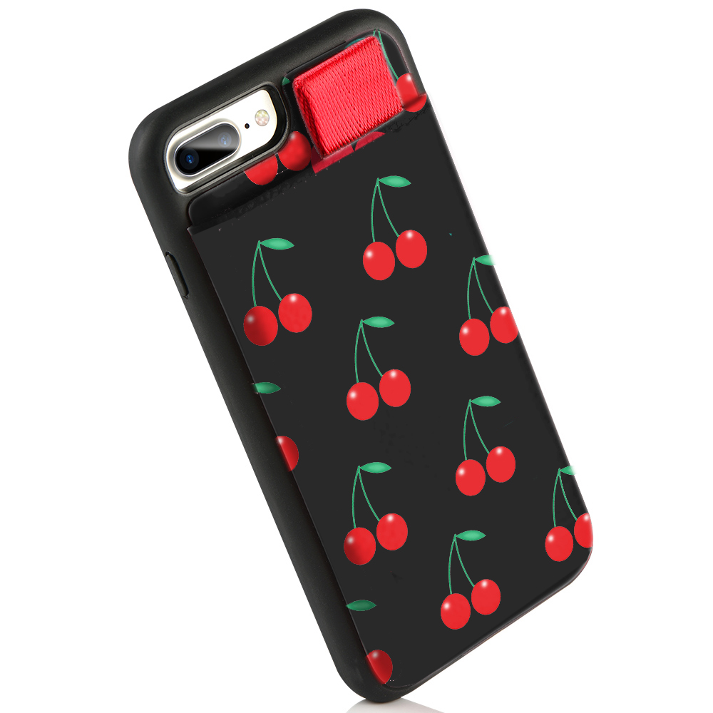iPhone 8 Plus Case, LAMEEKU iPhone 7 Plus Wallet Case, Red Cherry
